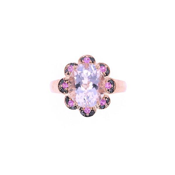 Morganite Sapphire & Black Diamond 14k Gold Ring