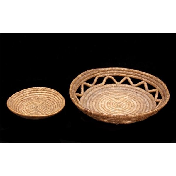 Papago Indian Hand Woven Coil Basket Pair