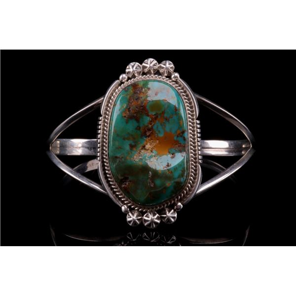 Navajo Richard Begay Silver & Turquoise Bracelet