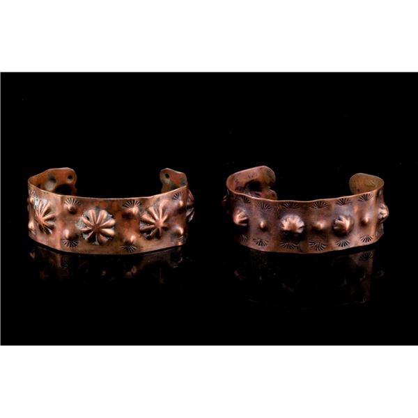 Navajo Fred Harvey Era Pressed Copper Bracelets