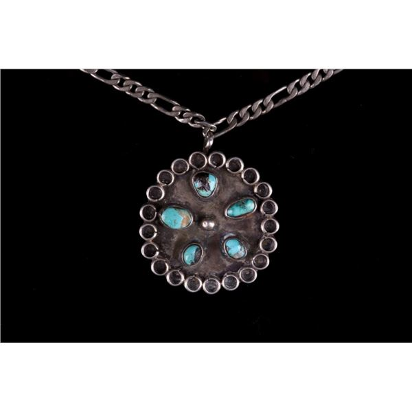 Navajo Signed Sterling Silver Turquoise Necklace