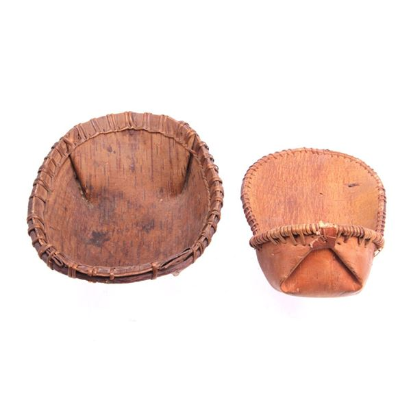 Ojibwa Indian Birch Bark Cradle Board & Basket