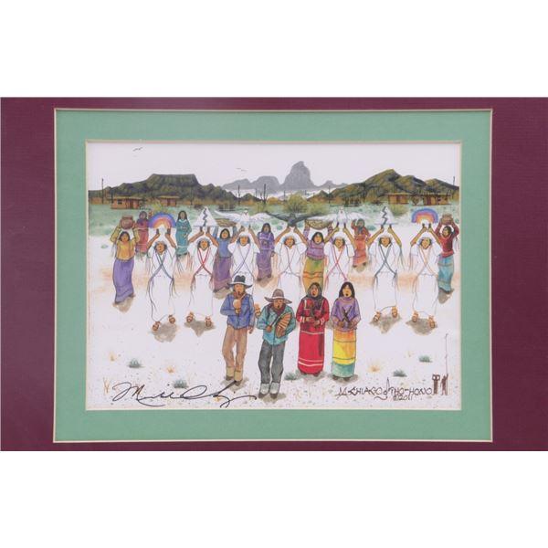Signed Michael Chiago Rain Dance Watercolor 2011