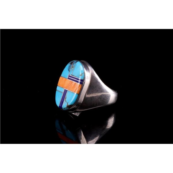 Navajo Steeve Grant Silver Multi Stone Inlaid Ring