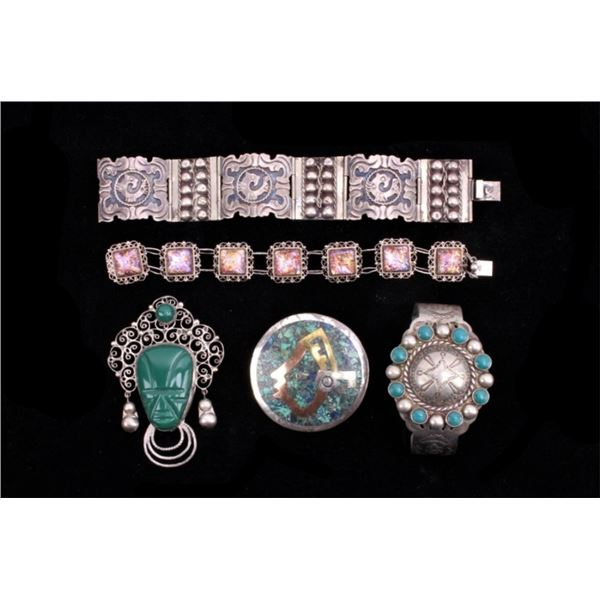 Sterling Various Pin & Bracelet Collection