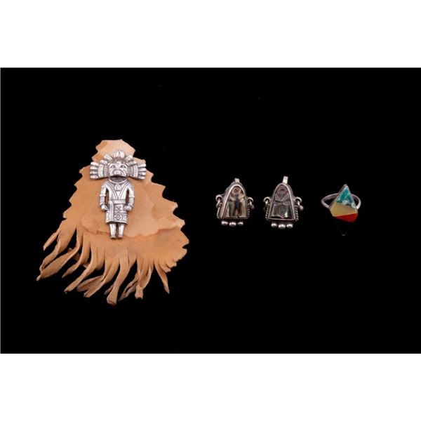Collection of Sterling Silver Ring, Pin & Earrings