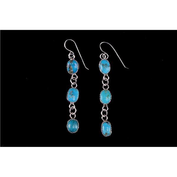Navajo Silver & Cripple Creek Turquoise Earrings