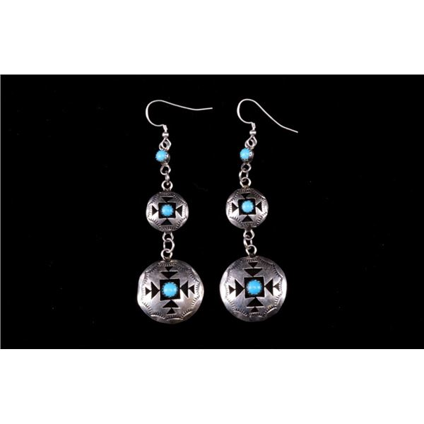 Navajo Perry Sterling Silver & Turquoise Earrings