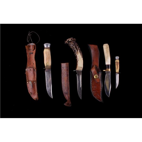 Collection Of Antler Handle Hunting Knives