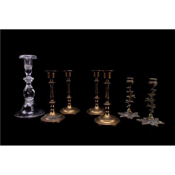 Ornate Brass & Crystal Steuben Candlestick Holders