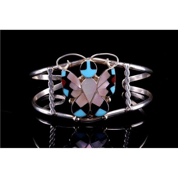 Zuni A. Dishta Silver Butterfly Mosaic Bracelet