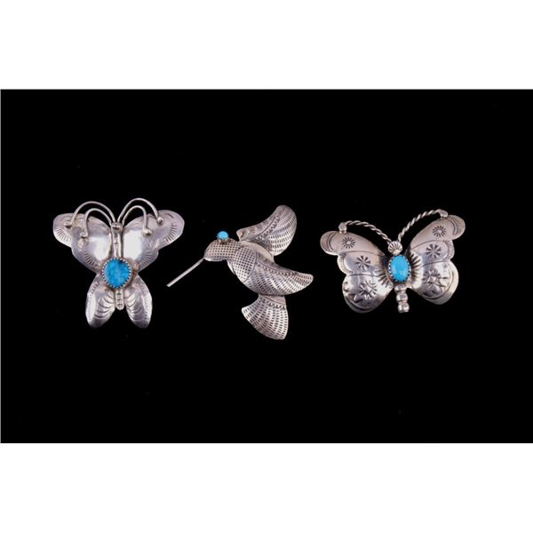 Navajo Sterling Silver Turquoise Pin Collection