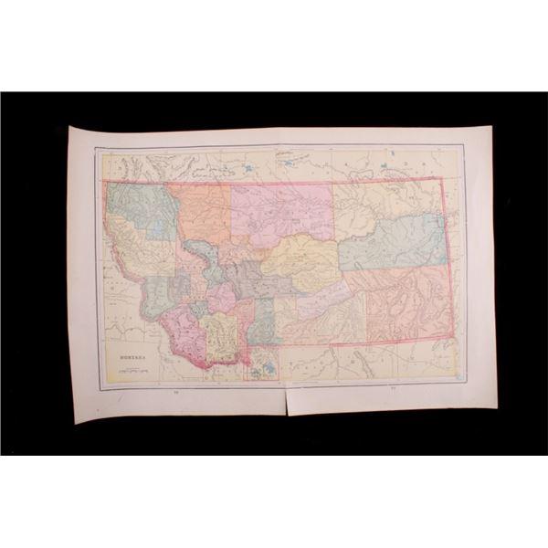 1800's County Map Of Montana, ID, WA.