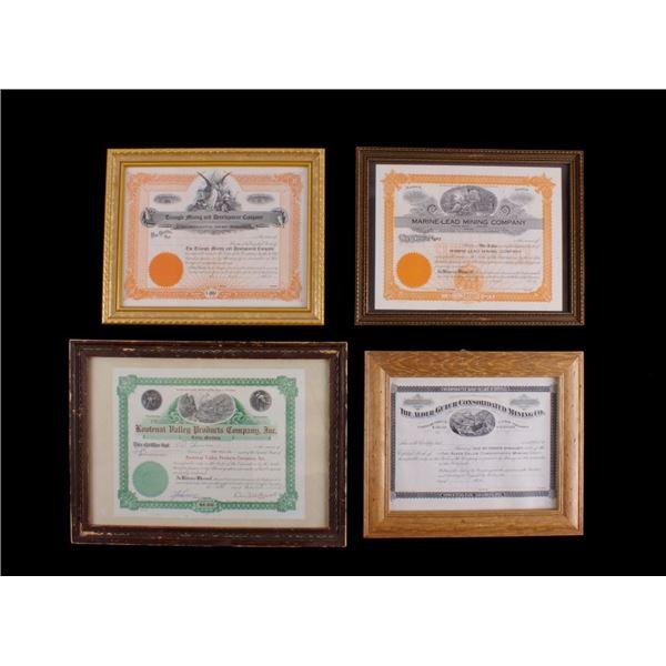 Montana Framed Mining Stock Share Certificates