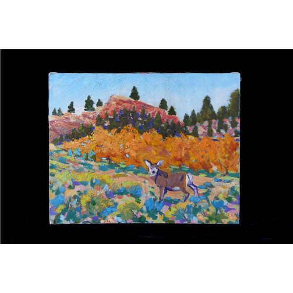 Original Oil on Canvas Mule Deer Tom Waugh 1984