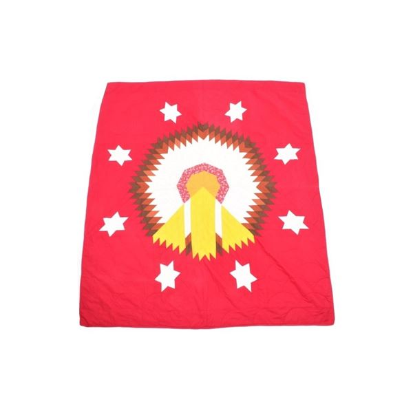 Lakota-Rosebud Sioux Reservation War Bonnet Quilt