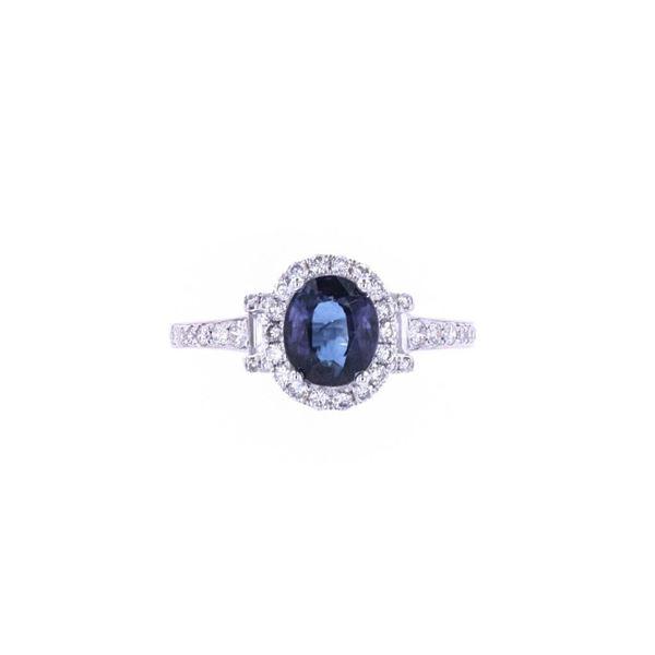 Blue Sapphire & Diamond 18k White Gold Ring