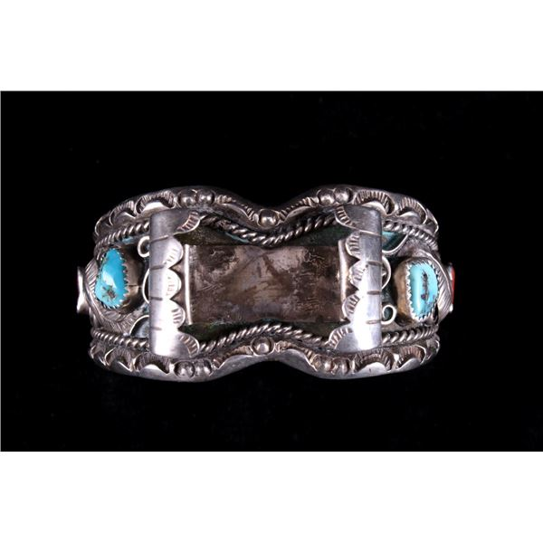 Navajo Sterling Silver Turquoise & Coral Watchband