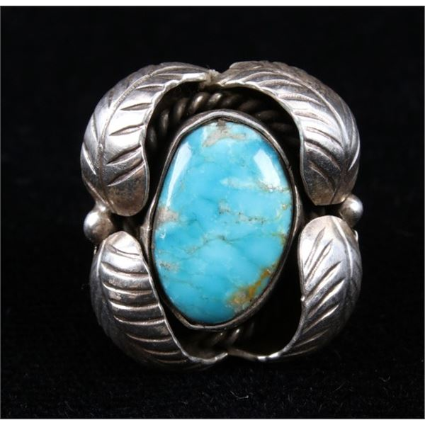 Navajo Sterling Silver & Turquoise  Shadowbox Ring
