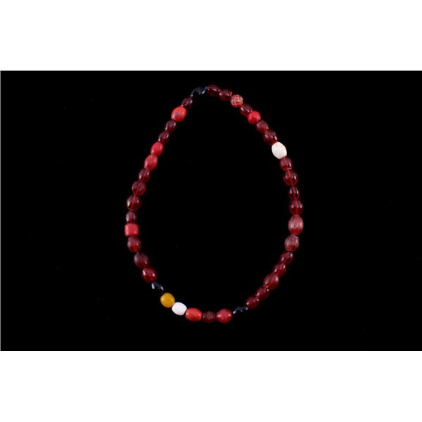 Mixed Oval Glass Nigerian Trade Beads Necklace