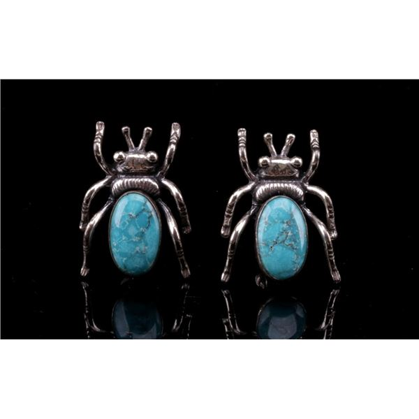 Navajo Sterling & Turquoise Bug Earrings