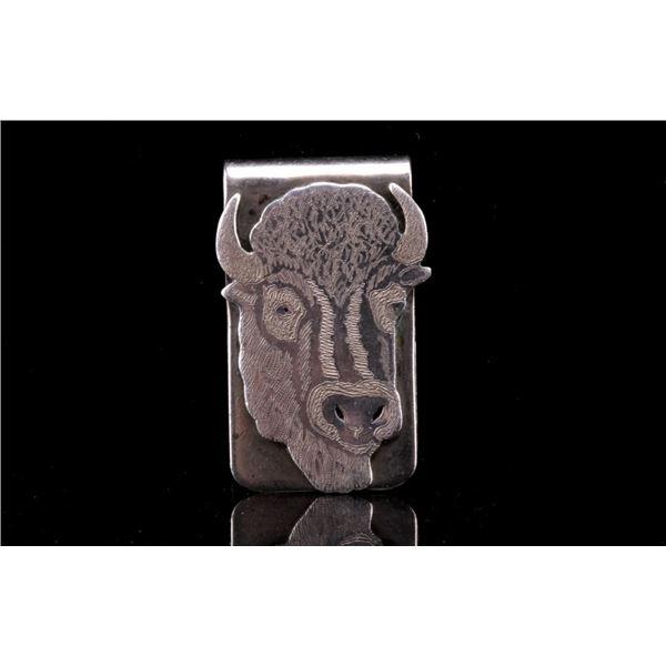 Zuni Dale Edaakie Sterling Silver Buffalo Clip