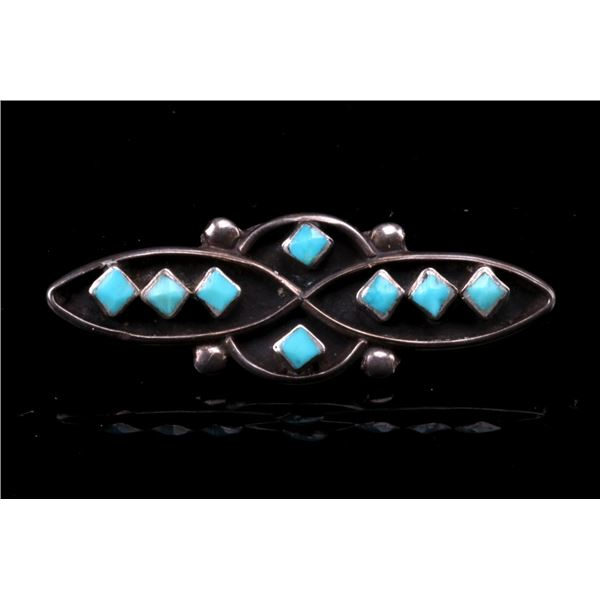 Navajo Sterling Silver & Turquoise Cabochon Pin