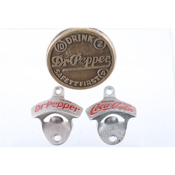 Dr Pepper & Coke Bottle Openers & Brass Marker