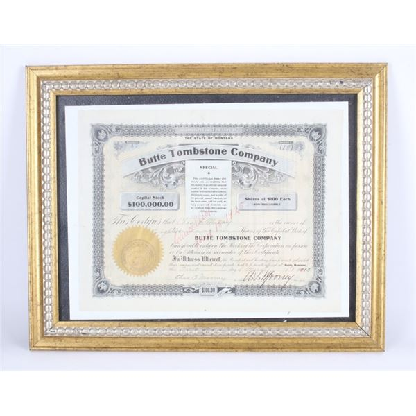 Butte Tombstone Company Capital Stock Certificate