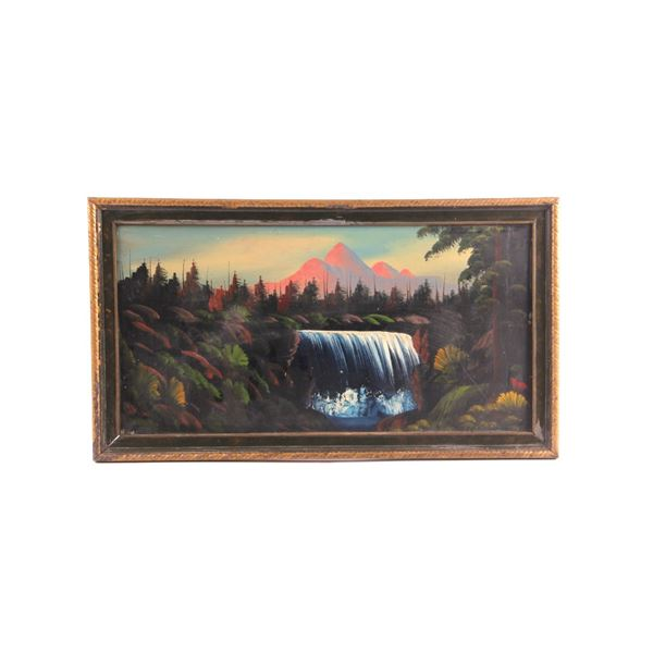 D. Holbrook Mountain and Waterfall Framed Painting