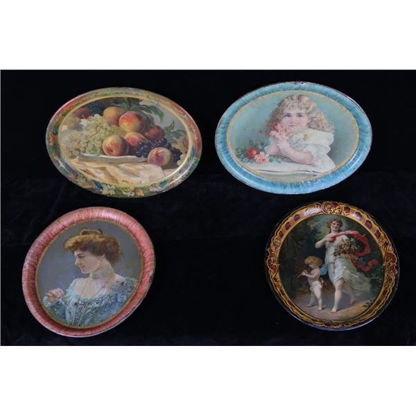 Collection of Victorian Enameled Portrait Platters