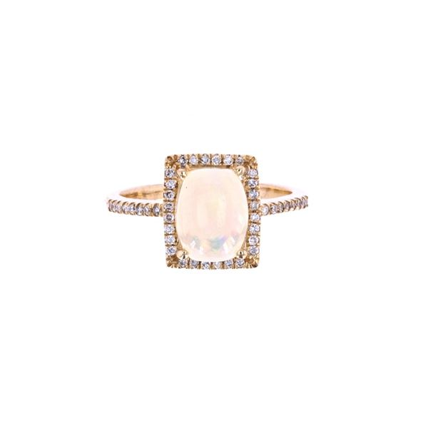 Australian Opal & Diamond 14k Yellow Gold Ring