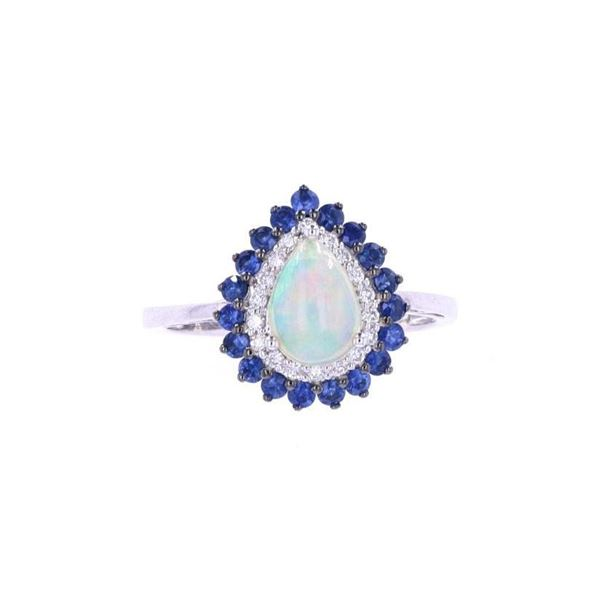 Ethiopian Opal & Blue Sapphire Diamond 14k Ring