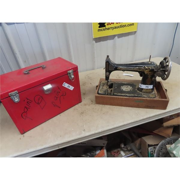 Picnic Cooler & Singer Sewing Head Machine