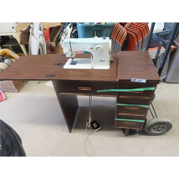 Elma Electric Cabinet Sewing Machine w Lots of Sewing Supplies in Drawers
