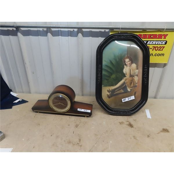 Forestville Mantle Clock & Convex Picture w Time Period Photo