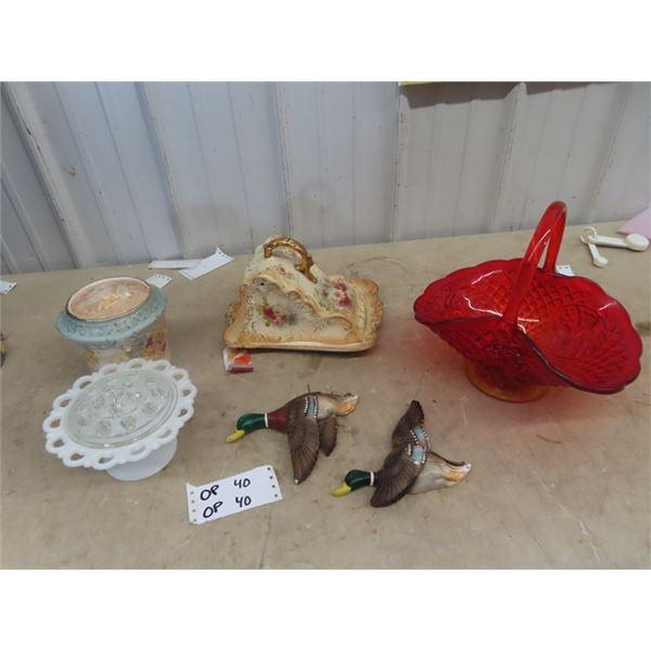 Cheese Dish, Bridal Basket, Devanware Ducks, Plus More!