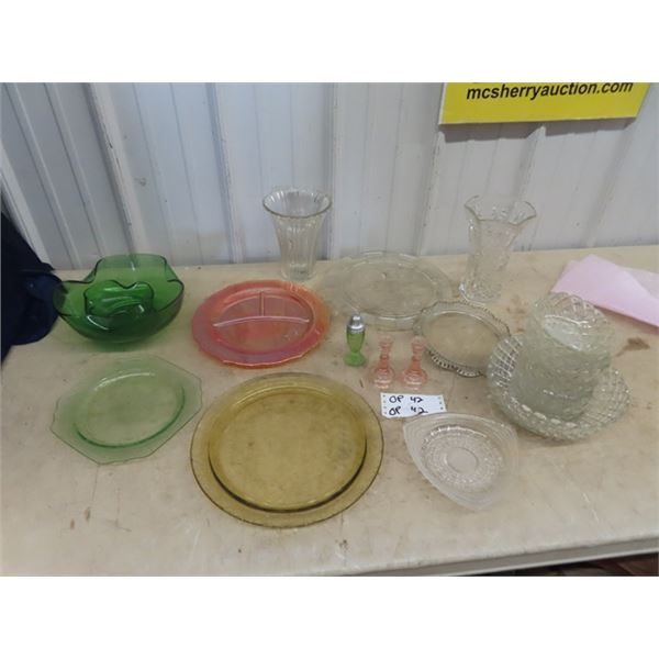 Depression Plates, Chip & Dip Set, Candle Holders & Cut Glass