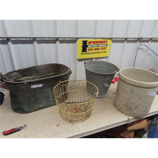Copper Boiler, Egg Basket, Galvanized Pail. 6 Gal Medalta Crock - has cracks