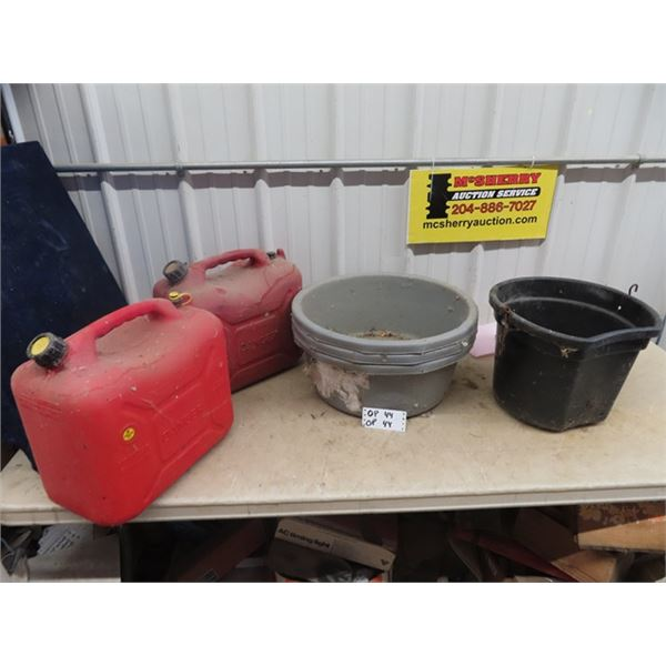 4 Feed Buckets/ Trouchs & 2 Gas Cans