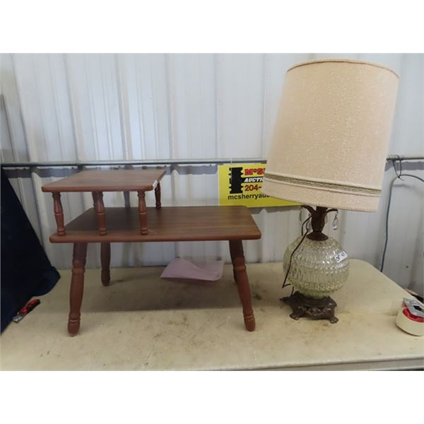 Stepback End Table & 2 Lamps