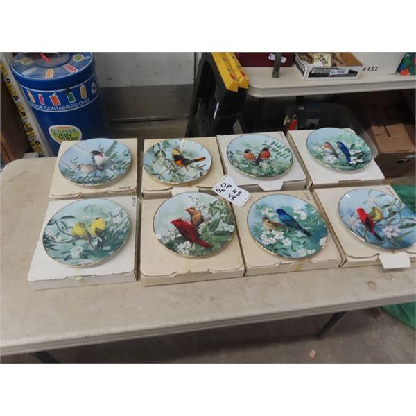 8 Collectors Plates - Birds