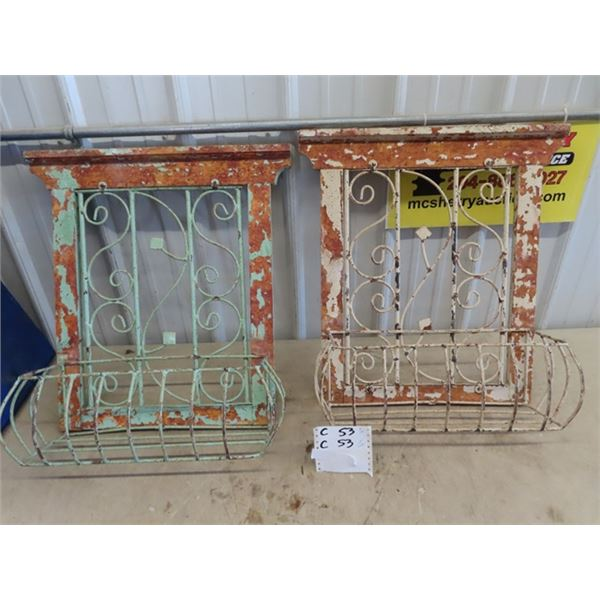 """Wrought Iron & Wood Wall Mount Planters 24"""" H 22""""W 7""""D"""