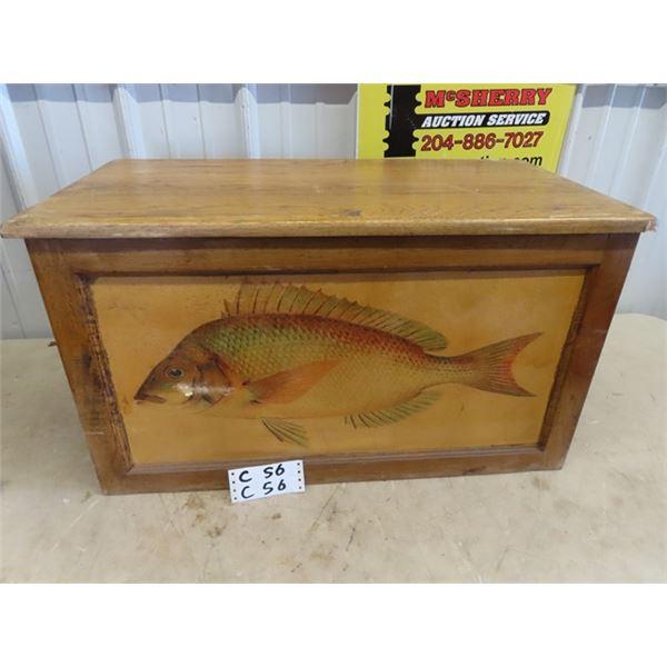 "Wood Chest w Fish Decor 16""H 29""W 14"" D"