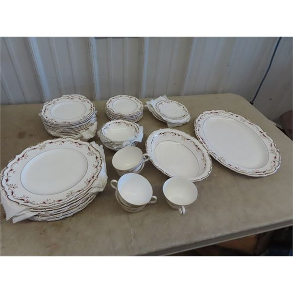 """Approx 50 Pc Royal Doulton """"Strassbourg"""" Place Setting- 5 Cups & Saucers, 1 Platter, 1 Oval Serving"""