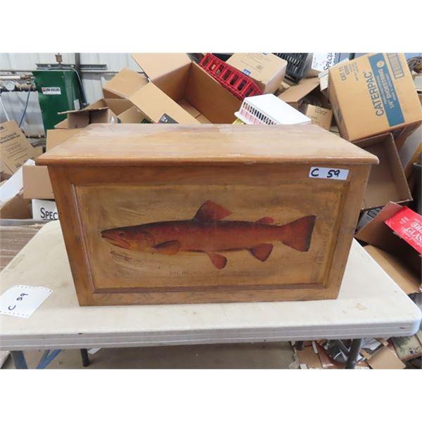 "Wood Chest W Fish Decor `16""H 29""W 14"" D"