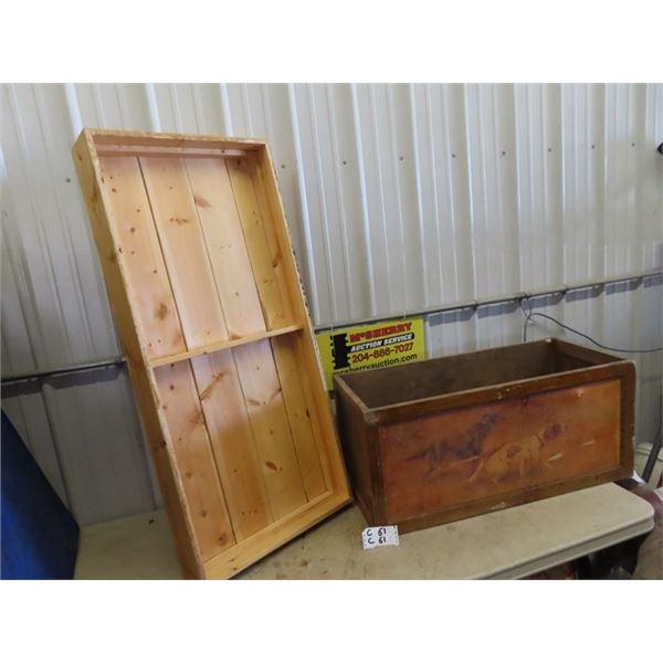 "Wooden Box w Dog Design 16""H 36""W 16""D & Wood Box 5"" x 48"" x 22"""