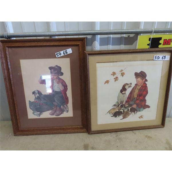 "2 Framed  Norman Rockwell Prints 1) 18"" x 22"" & 1) 19"" x 19"""
