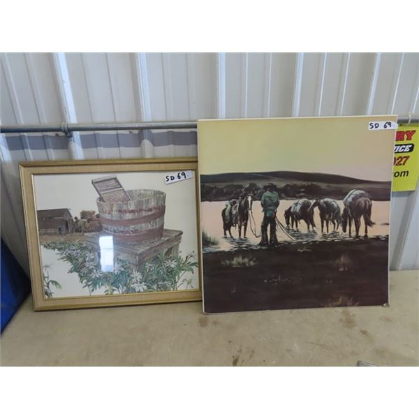 2 Pictures - Cowboy At Watering Hole & Country Yard Site