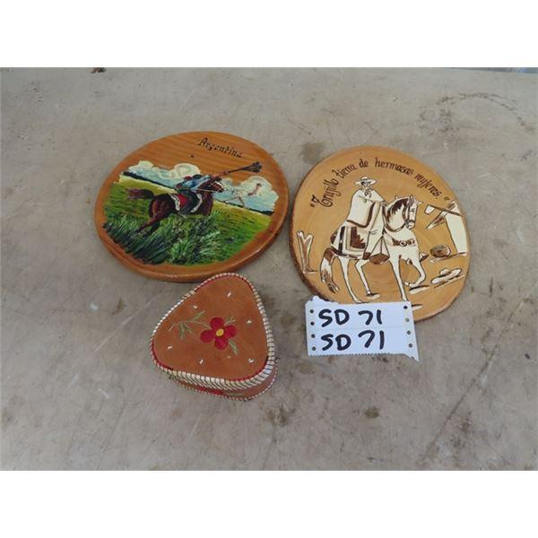 Wooden Souvenir Carved Plates & Birch Baskets